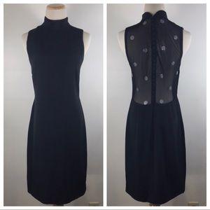 90s Vera Wang Mesh Rhinestone Button Back Dress